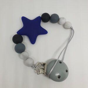 Portachupete Silicona Estrella Azul Marino